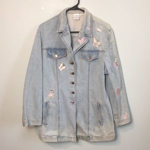 Denim blue jean jacket embroidered butterflies vtg
